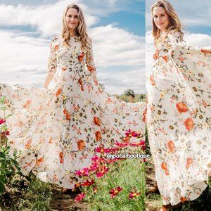 HTF NWT ANTHROPOLOGIE Woodstock Floral Maxi Dress